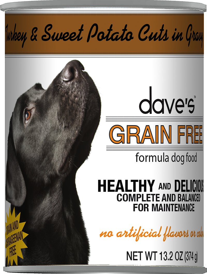 Dave's Dog Food Grain-Free Turkey & Sweet Potato Cuts in Gravy Canned Dog Food, 13-oz