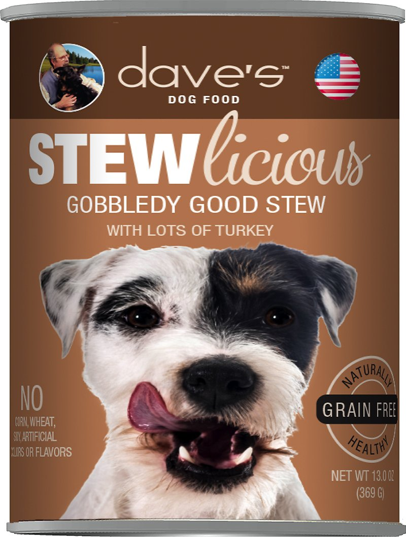 Dave's Dog Food Stewlicious Grain-Free Gobbledy Good Stew Canned Dog Food, 13-oz, case of 12