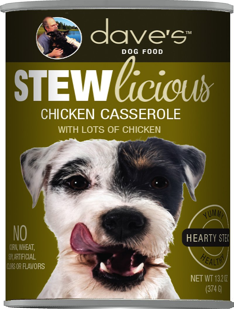 Dave's Dog Food Stewlicious Chicken Casserole Canned Dog Food, 13.2-oz