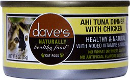 Dave's Cat Food Naturally Healthy Grain-Free Ahi Tuna Dinner with Chicken Canned Cat Food, 5.5-oz