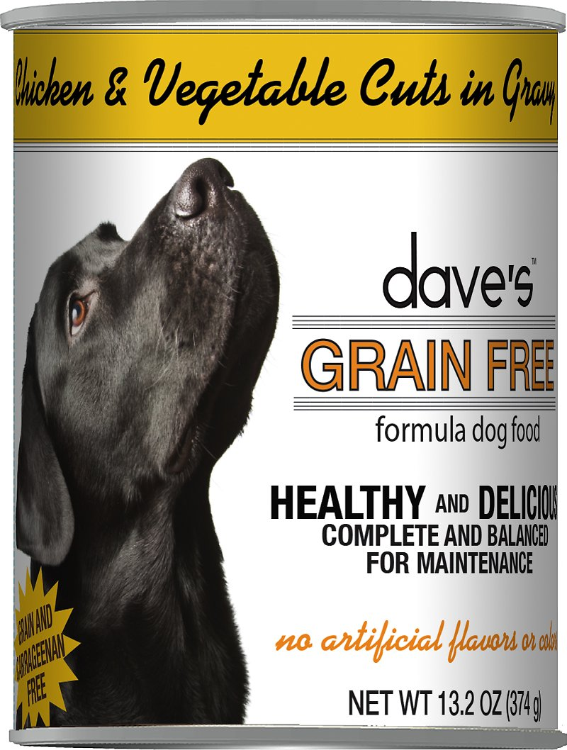 Dave's Dog Food Grain-Free Chicken & Vegetable Cuts in Gravy Canned Dog Food, 13-oz