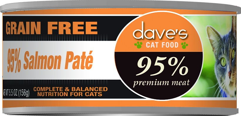 Dave's Cat Food 95% Premium Meat Grain-Free Salmon Pate Canned Cat Food, 5.5-oz