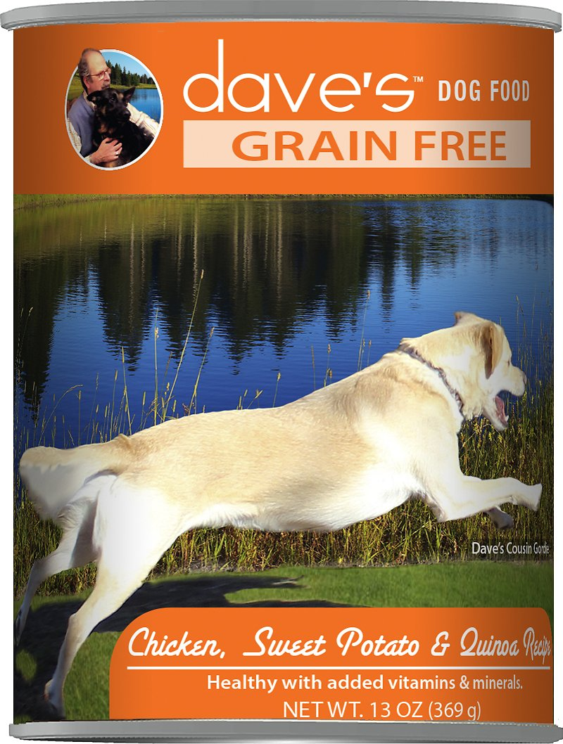 Dave's Dog Food Grain-Free Chicken, Sweet Potato & Quinoa Recipe Canned Dog Food, 13-oz