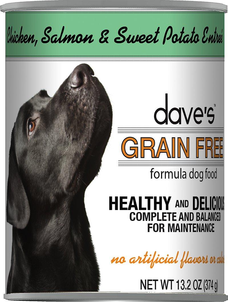 Dave's Dog Food Grain-Free Chicken, Salmon & Sweet Potato Entree Canned Dog Food, 13-oz