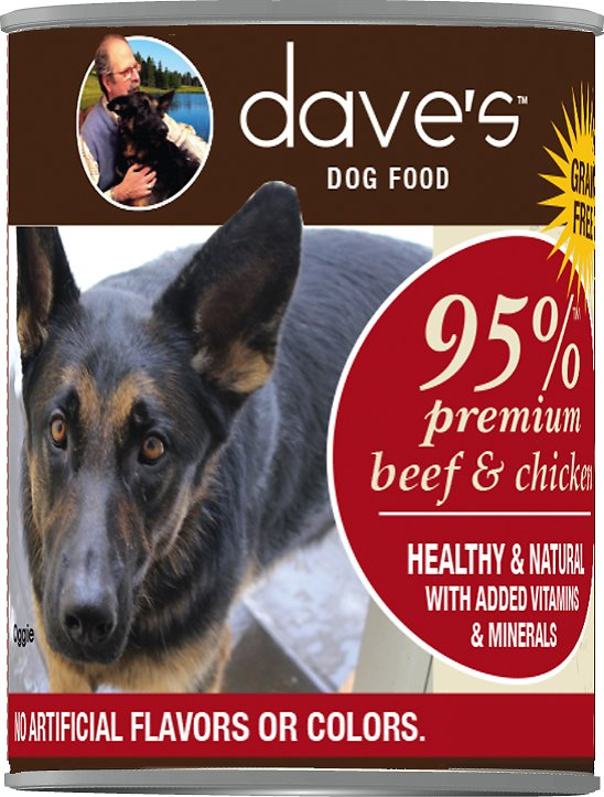 Dave's Dog Food 95% Premium Beef & Chicken Recipe Grain-Free Canned Dog Food, 13-oz, case of 12
