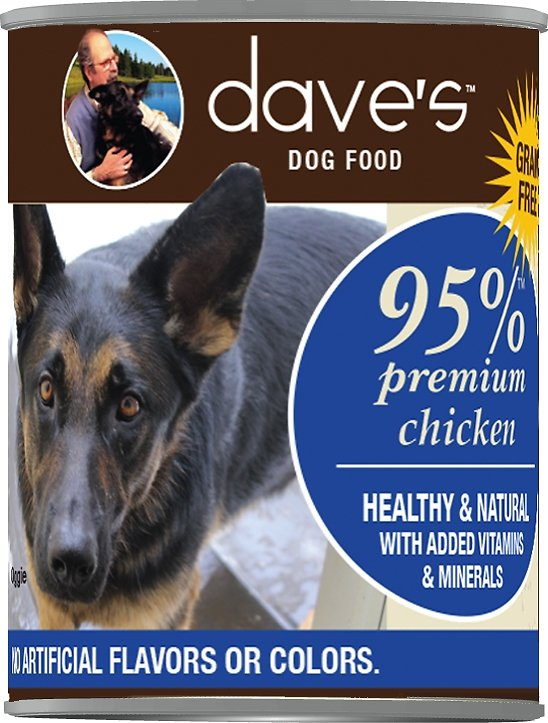 Dave's Dog Food 95% Premium Chicken Recipe Grain-Free Canned Dog Food, 13-oz