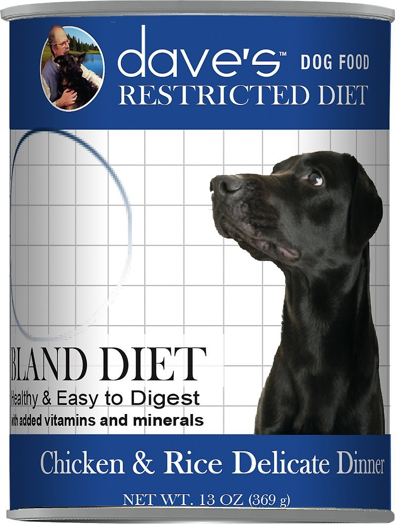 Dave's Dog Food Restricted Bland Chicken & Rice Canned Dog Food, 13-oz, case of 12