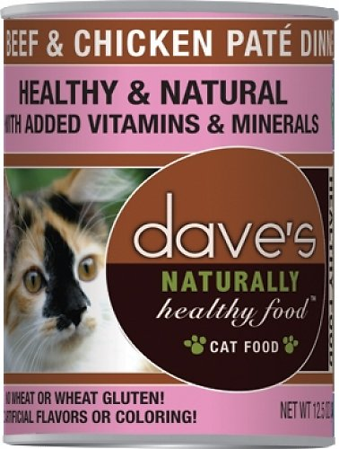 Dave's Cat Food Naturally Healthy Grain-Free Beef & Chicken Dinner Canned Cat Food, 12.5-oz