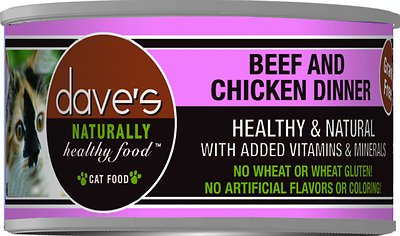 Dave's Cat Food Naturally Healthy Grain-Free Beef & Chicken Dinner Canned Cat Food, 3-oz, case of 24