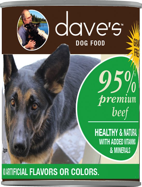 Dave's Dog Food 95% Premium Beef Recipe Grain-Free Canned Dog Food, 13-oz