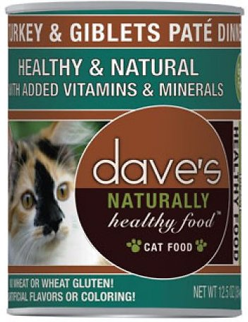 Dave's Cat Food Naturally Healthy Grain-Free Turkey & Giblets Dinner Canned Cat Food, 12.5-oz