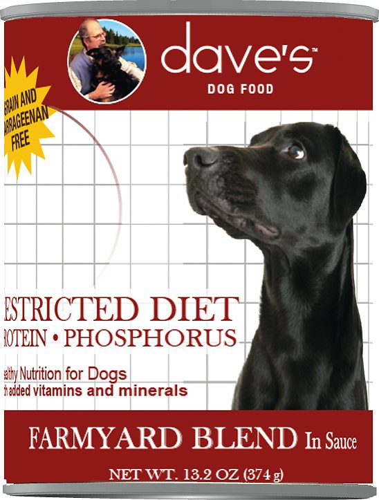 Dave's Dog Food Restricted Diet Protein & Phosphorus Farmyard Blend in Sauce Grain-Free Canned Dog Food, 13.2-oz