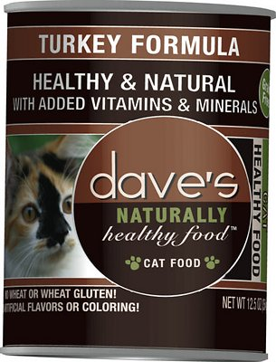 Dave's Cat Food Naturally Healthy Grain-Free Turkey Formula Canned Cat Food, 12.5-oz, case of 12