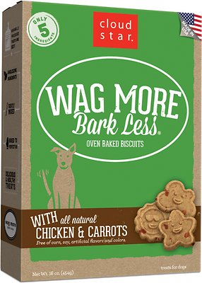 Cloud Star Wag More Bark Less Oven Baked with Chicken & Carrots Dog Treats,