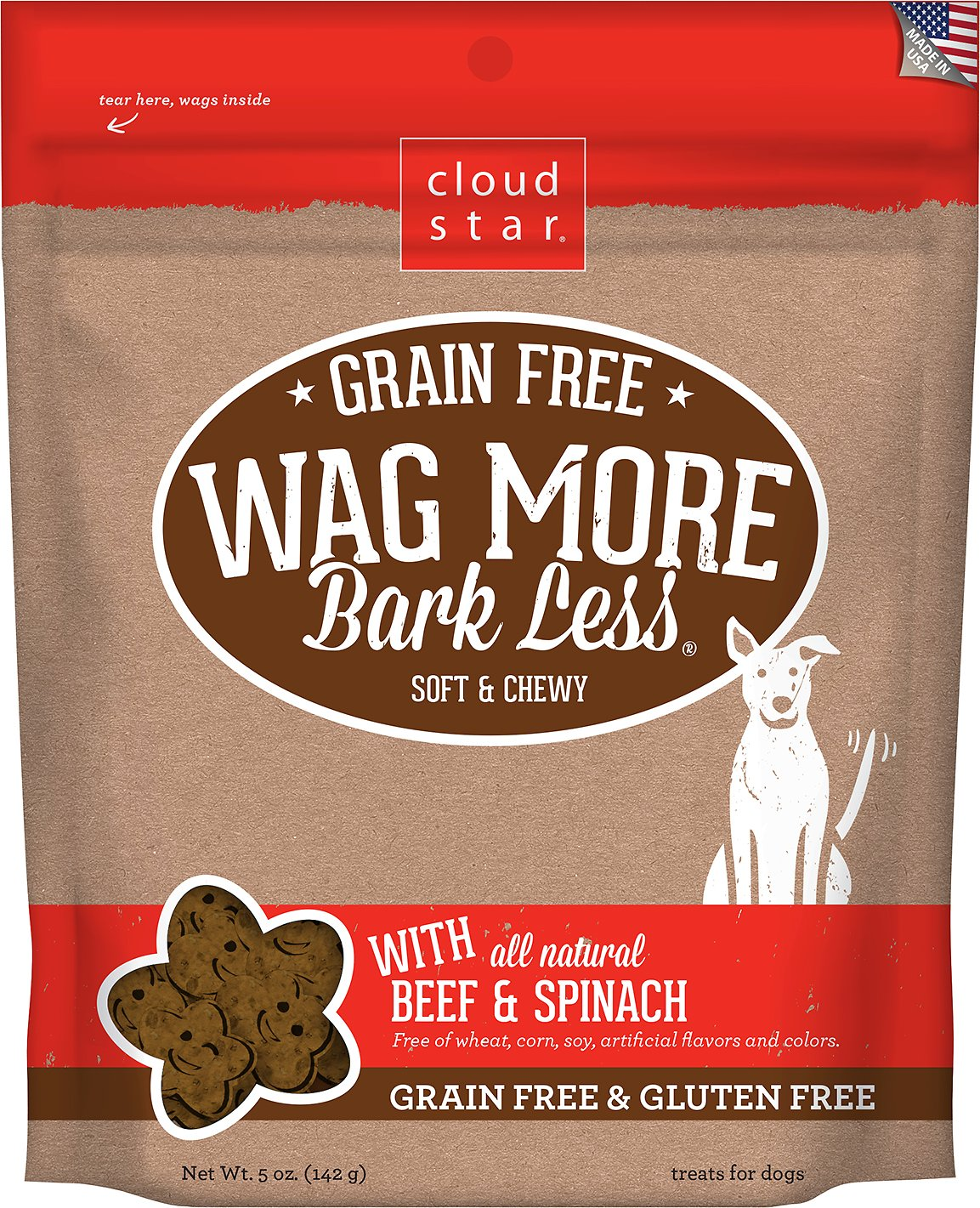 Cloud Star Wag More Bark Less Grain-Free Soft & Chewy with Beef & Spinach Dog Treats, 5-oz bag