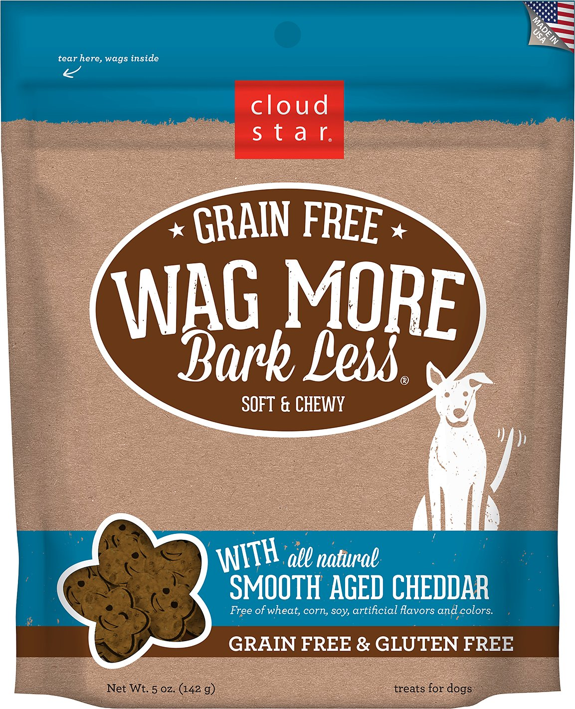 Cloud Star Wag More Bark Less Grain-Free Soft & Chewy with Smooth Aged Cheddar Dog Treats, 5-oz bag