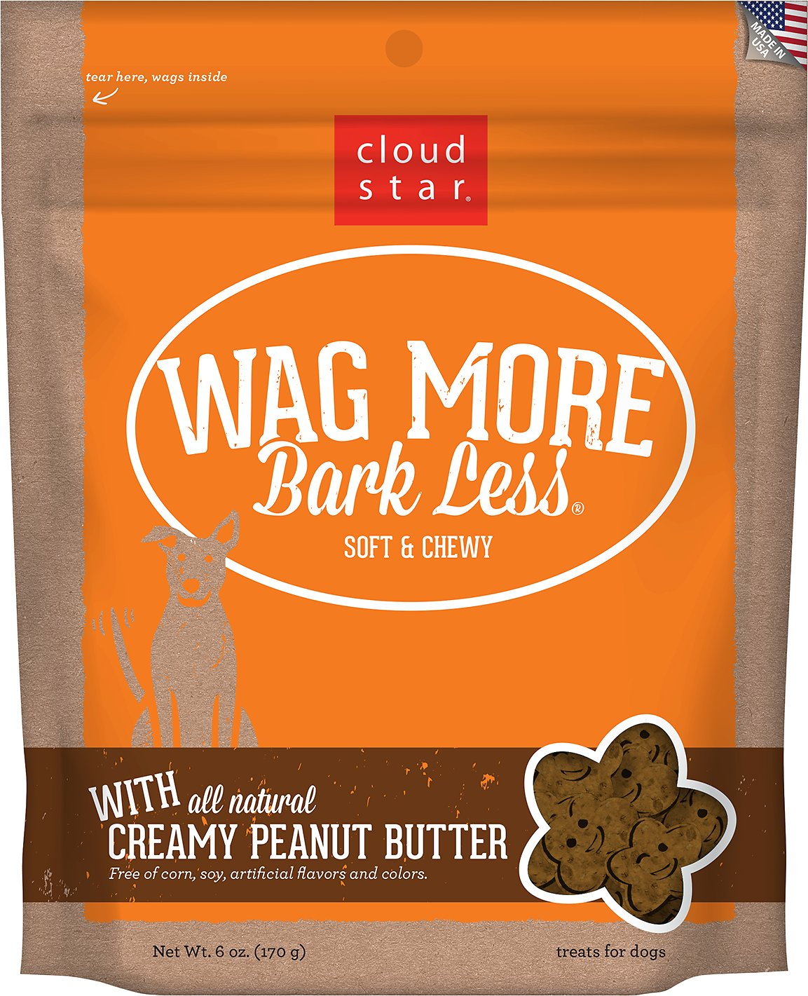 Cloud Star Wag More Bark Less Soft & Chewy with Creamy Peanut Butter Dog Treats, 6-oz bag