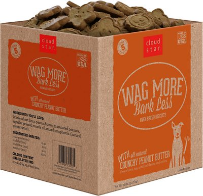 Cloud Star Wag More Bark Less Oven Baked with Crunchy Peanut Butter Cookie Recipe Dog Treats