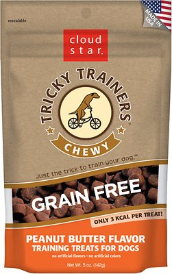 Cloud Star Tricky Trainers Chewy Grain Free Peanut Butter Flavor Dog Treats