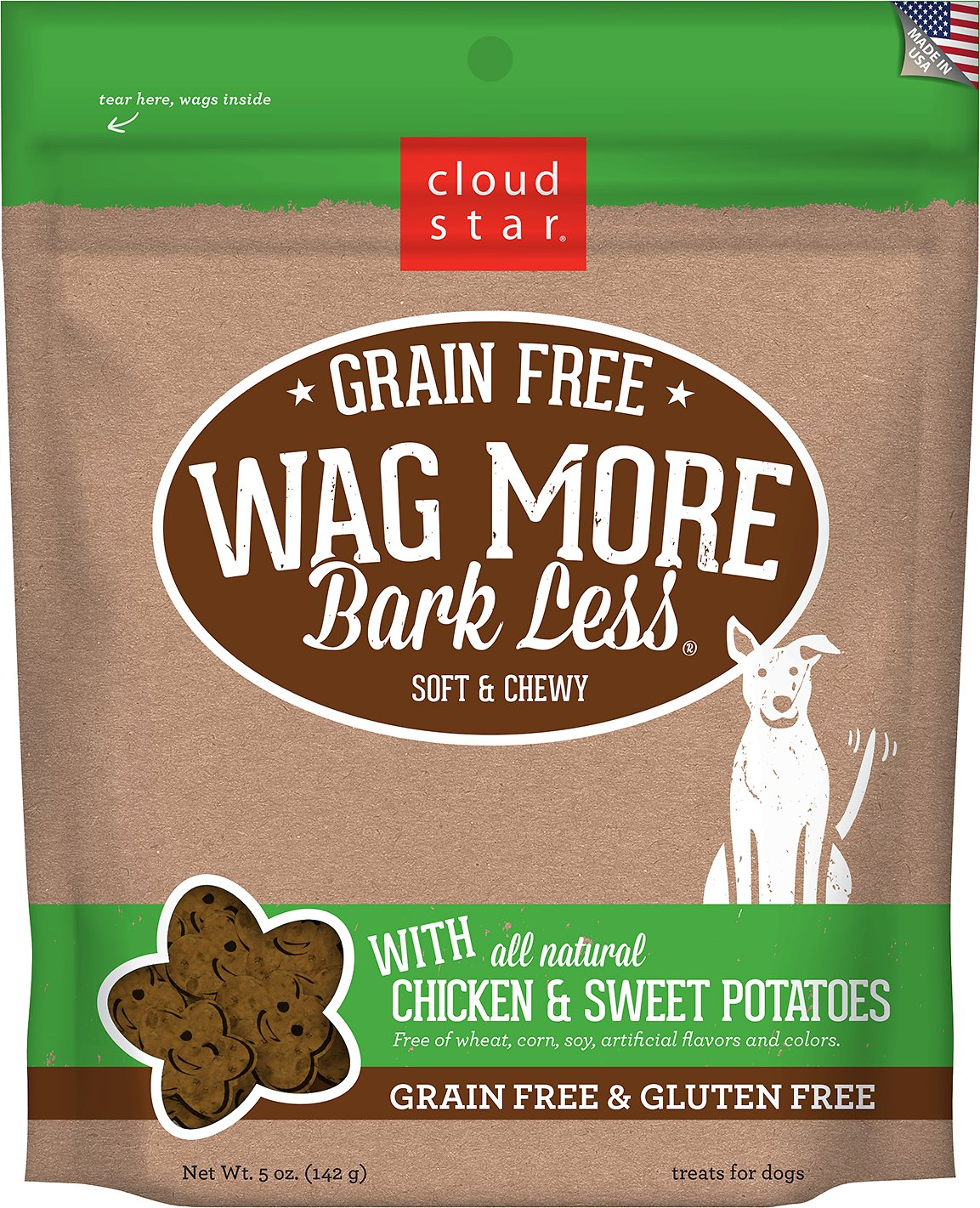 Cloud Star Wag More Bark Less Grain-Free Soft & Chewy with Chicken & Sweet Potato Dog Treats, 5-oz bag