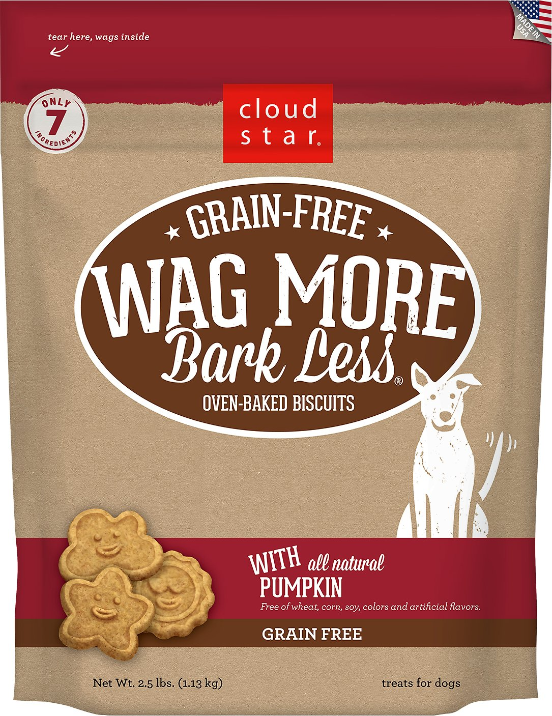 Cloud Star Wag More Bark Less Grain Free Pumpkin Flavor Dog Treats, 2.5-lb box