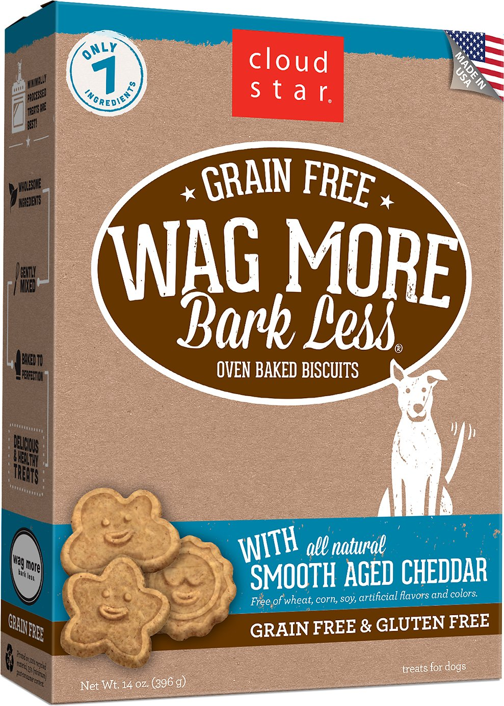 Cloud Star Wag More Bark Less Grain-Free Oven Baked with Smooth Aged Cheddar Dog Treats, 14-oz box