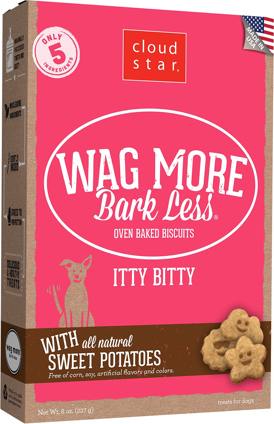Cloud Star Wag More Bark Less Itty Bitty Oven Baked with Sweet Potatoes Dog Treats, 8-oz box