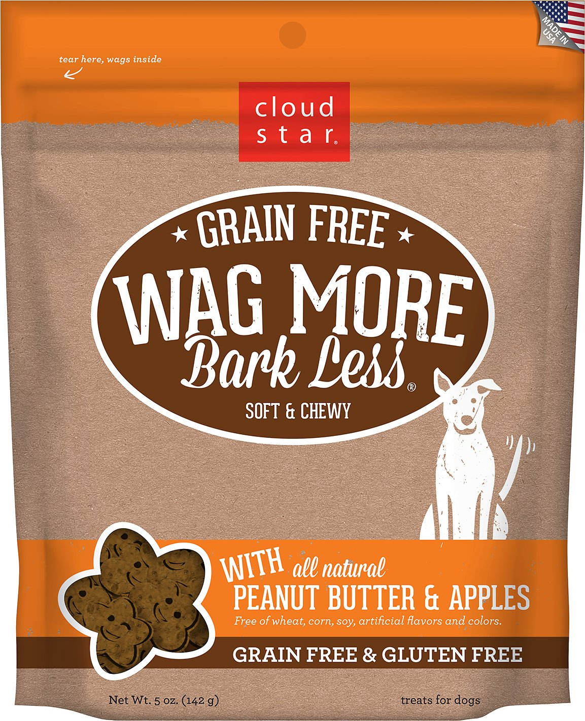 Cloud Star Wag More Bark Less Grain-Free Soft & Chewy with Peanut Butter & Apples Dog Treats, 5-oz bag