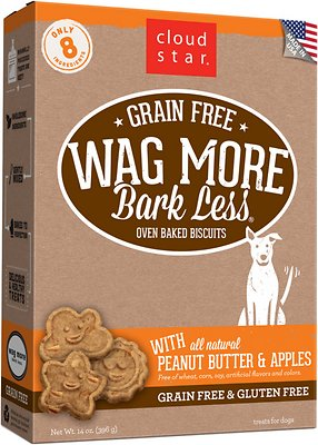 Cloud Star Wag More Bark Less Grain-Free Oven Baked with Peanut Butter & Apples Dog Treats