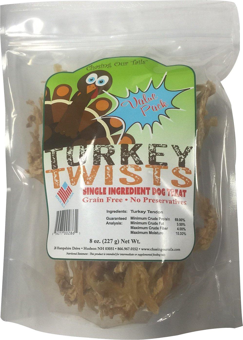 Chasing Our Tails Turkey Twists Single Ingredient Turkey Tendon Dog Treats, 8-oz bag