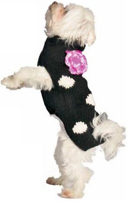 Chilly Dog Black Polka Dot Dog & Cat Sweater, X-Small
