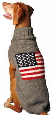 Chilly Dog American Flag Dog & Cat Sweater, Large