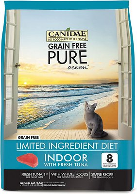 CANIDAE Grain-Free PURE Ocean with Tuna Indoor Formula Limited Ingredient Diet Dry Cat Food