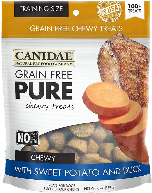 CANIDAE Grain-Free PURE Sweet Potato & Duck Chewy Dog Treats, 6-oz bag