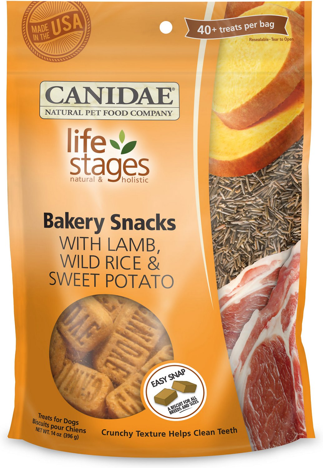 CANIDAE Life Stages Bakery Snacks with Lamb, Wild Rice & Sweet Potato Dog Treats, 14-oz bag