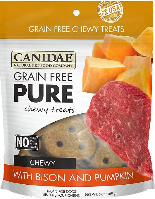 CANIDAE Grain-Free PURE Bison & Pumpkin Chewy Dog Treats, 6-oz bag