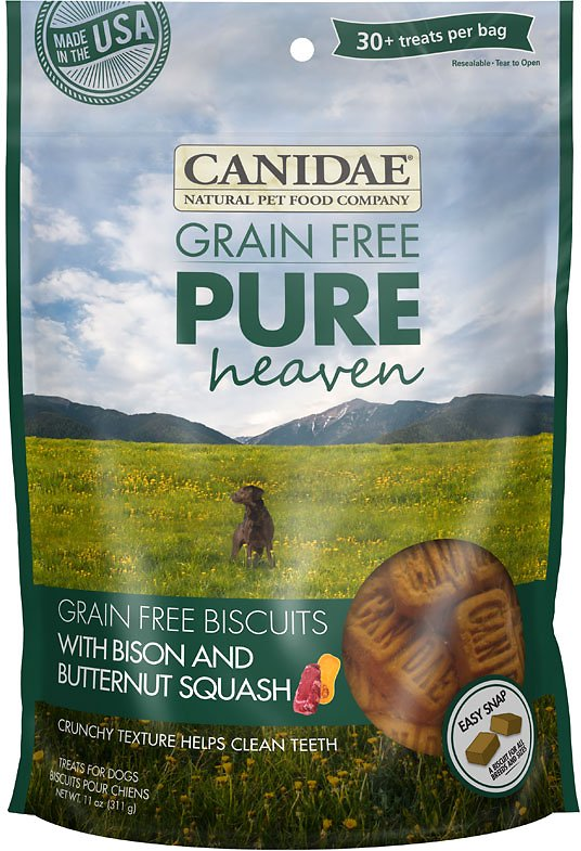 CANIDAE Grain-Free PURE Heaven Biscuits with Bison & Butternut Squash Crunchy Dog Treats, 11-oz bag