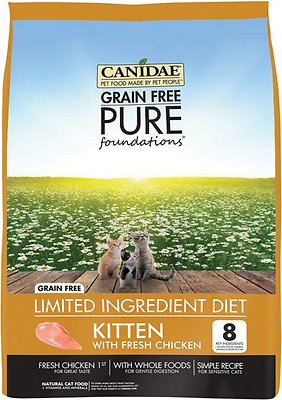 CANIDAE Grain-Free PURE Foundations Kitten Formula with Chicken Limited Ingredient Diet Dry Cat Food