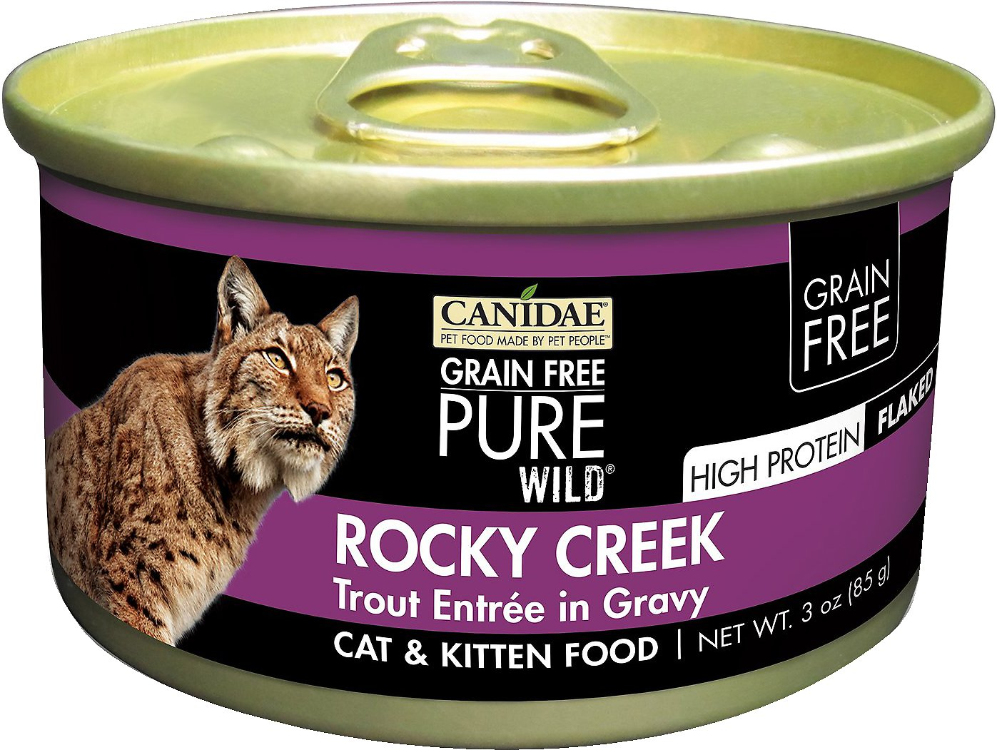 CANIDAE Grain-Free PURE WILD Rocky Creek with Trout Canned Cat Food, 3-oz