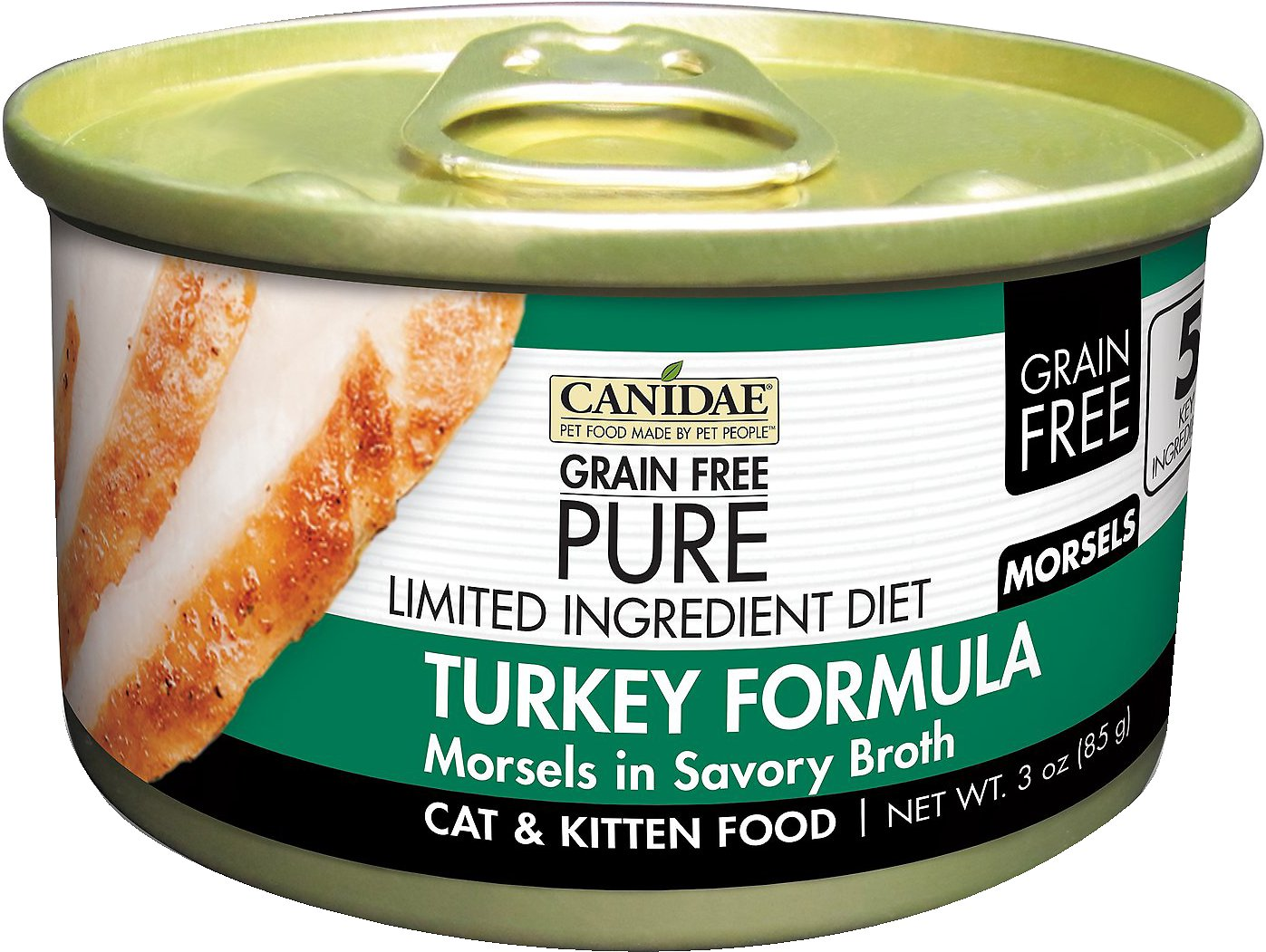 CANIDAE Grain-Free PURE Limited Ingredient Diet Morsels with Turkey Canned Cat Food, 3-oz