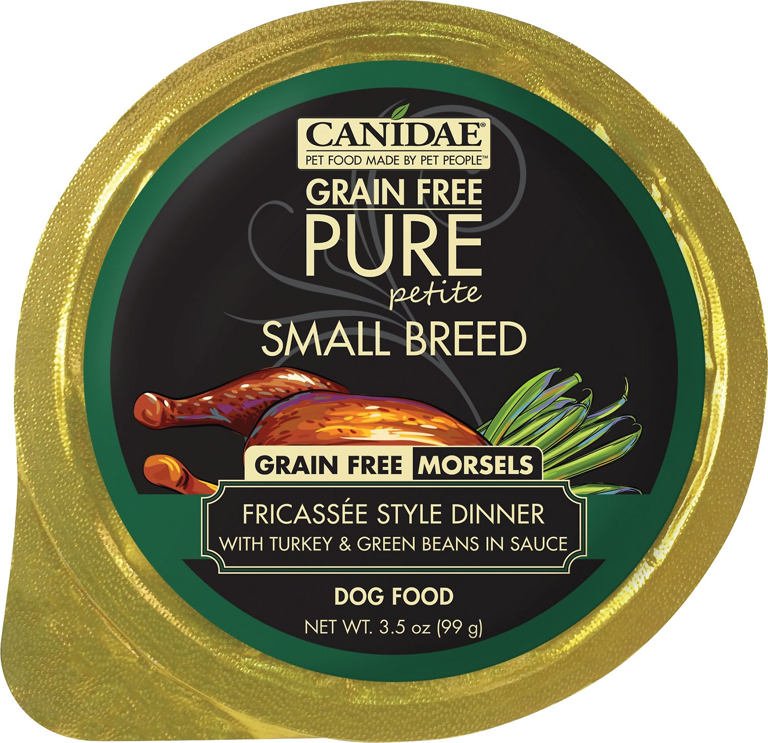 CANIDAE Grain-Free PURE Petite Fricassee Style Dinner with Turkey & Green Beans in Sauce Small Breed Dog Food Trays, 3.5-oz