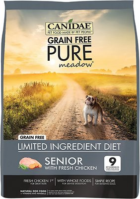 CANIDAE Grain-Free PURE Meadow Senior Formula with Chicken Limited Ingredient Diet Dry Dog Food
