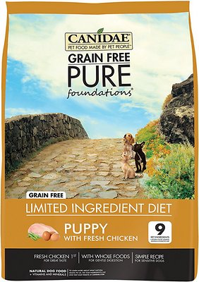 CANIDAE Grain-Free PURE Foundations Puppy Formula with Chicken Limited Ingredient Diet Dry Dog Food