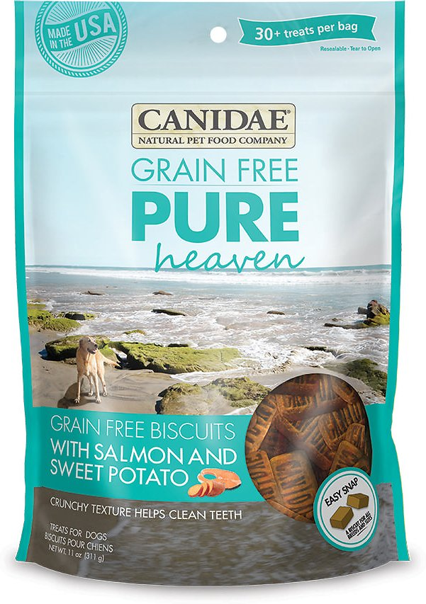 CANIDAE Grain-Free PURE Heaven Biscuits with Salmon & Sweet Potato Crunchy Dog Treats, 11-oz bag