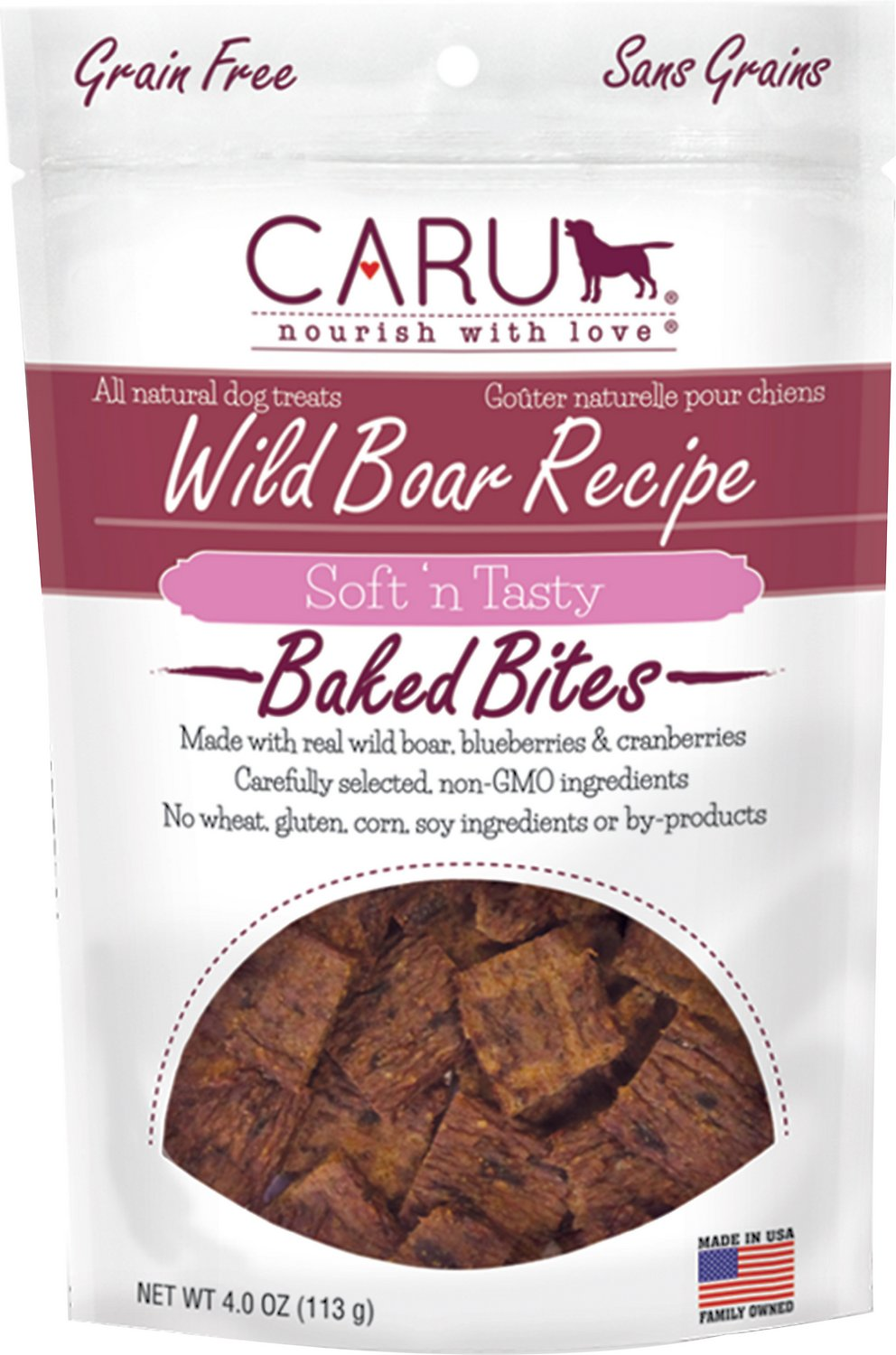 Caru Soft 'n Tasty Baked Bites Wild Boar Recipe Grain-Free Dog Treats, 4-oz bag