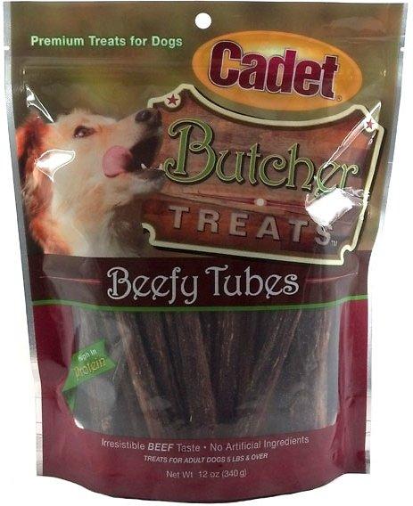 Cadet Butcher Beefy Tubes Dogs Treats, 12-oz bag