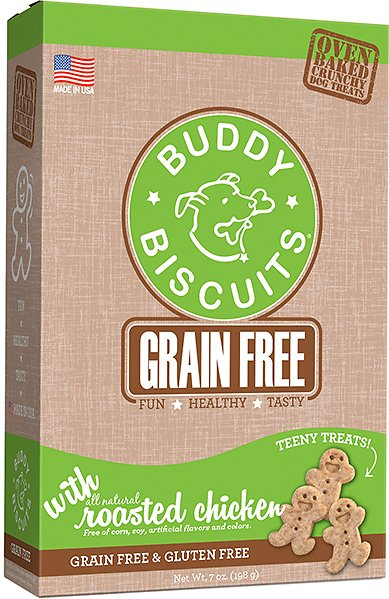 Buddy Biscuits Grain Free Oven Baked Teeny Treats with Roasted Chicken Dog Treats, 7-oz box