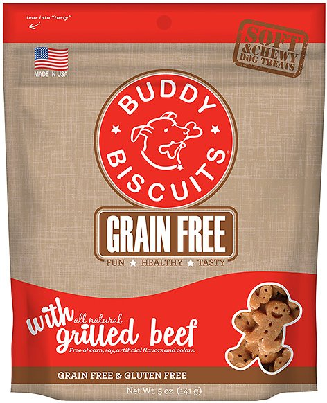 Buddy Biscuits Grain-Free Soft & Chewy with Slow Roasted Beef Dog Treats, 5-oz bag