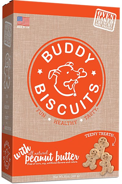 Buddy Biscuits Oven Baked Teeny Treats with Peanut Butter, 8-oz box