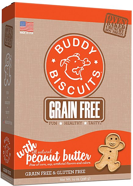 Buddy Biscuits Grain-Free Oven Baked with Homestyle Peanut Butter Dog Treats, 14-oz box